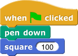 when greenflag clicked, pen down, square (100)