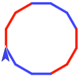 12-sided figure, sides alternating 3 red 3 blue