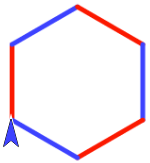 6-sided figure, sides alternating red-blue