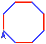8-sided figure, sides alternating red-blue