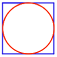 red circle in blue square
