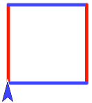 Square with sides alternating red and blue
