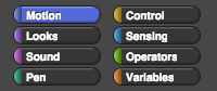 Motion palette categories: Motion, Looks, Sound, Pen, Control, Sensing, Operators, and Variables
