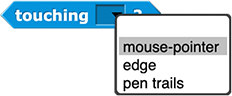 touching () ? block with menu open showing three options: mouse-pointer, edge, and pen trails